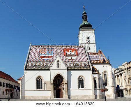 Church of St. Mark in Zagreb Croatia located in the Upper Town on the St. Mark's square between the government and parliament buildings.