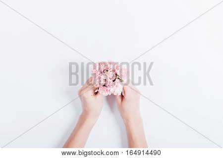 Small Bouquet Of Pink Carnations In Female Hands