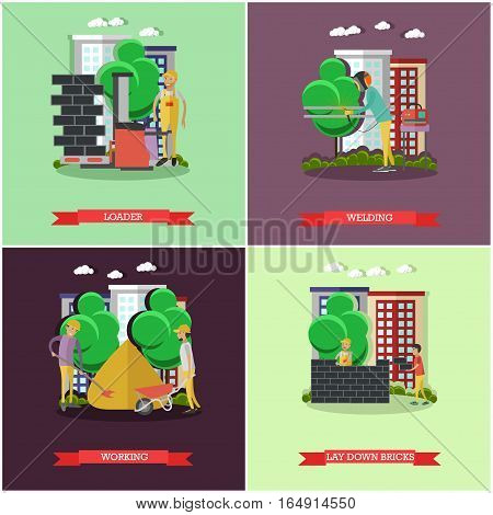 Vector set of construction concept posters, banners. Loader, Welding, Working, Lay down bricks design elements in flat style.