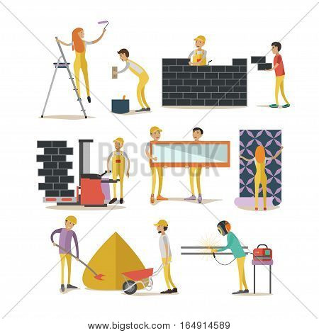Vector set of construction workers isolated on white background. People working at construction site, renovating apartment. Flat style design elements, icons.