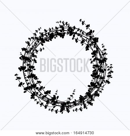 Vector circle frame made of flowers. Spring and summer collection. Invitation template. lavender flower wreath on a white background