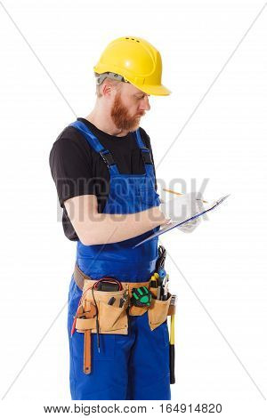 Man Builder In The Uniform With Clipboard In The Hands