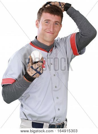 Baseball Player with Ball and Hand on Head - Isolated