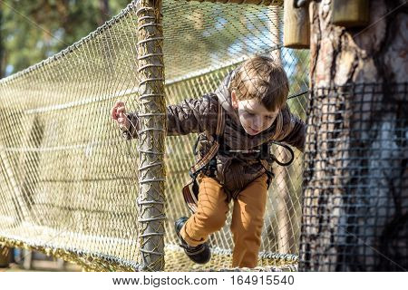 Cute Child, Boy, Climbing In A Rope Playground Structure