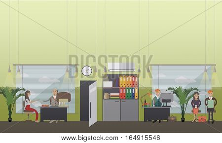 Vector illustration of employee, manager, director interviewing young woman, candidates waiting for job interview. Office, human resources concept design element in flat style.