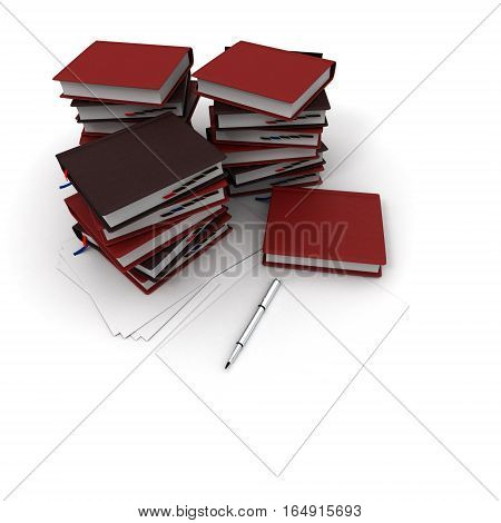 The Pile Of Books And Ballpoint Pen Isolated On A White Background.