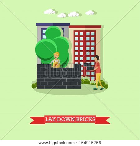 Vector illustration of builder, mason laying bricks and worker helping him. Building site, bricklayer. Construction, masonry concept vector illustration in flat style.