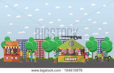 Vector illustration of amusement park concept design element with shooting range attraction, street food, hot dog stall and people sellers and buyers. Cartoon characters, flat style.