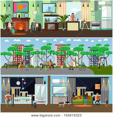 Vector set of family concept design elements in flat style. Parents cooking, walking in the park with their children, reading bedtime stories. Grandparents taking rest at fireplace. Family lifestyle.