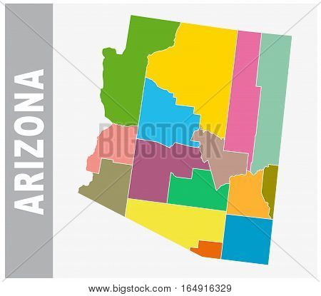 Colorful Arizona administrative and political vector map