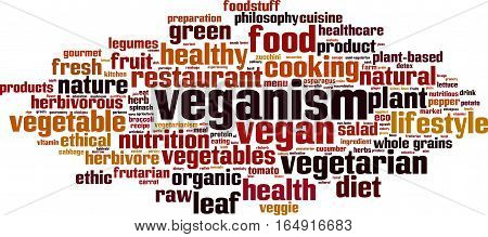 Veganism word cloud concept. Vector illustration on white