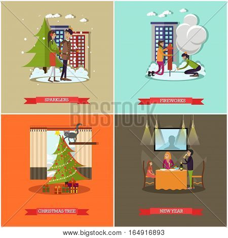 Vector set of New Years Eve celebration concept posters, banners. Sparklers, Fireworks, Christmas tree and New Year design elements in flat style.