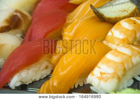 fresh sushi dinner with rice and fish