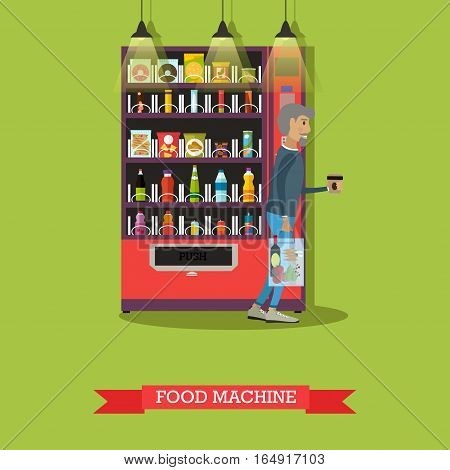 Vector illustration of food machine with snacks and drinks, man with coffee. Vending machines service concept design element in flat style.