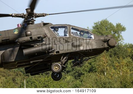 GILZE-RIJEN THE NETHERLANDS - SEP 7 2016: Royal Netherlands Air Force Boeing AH-64 Apache attack helicopter.
