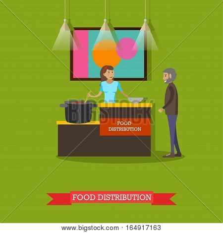 Vector illustration of volunteer young woman helping elderly man with food. Voluntary organizations services concept design element in flat style.