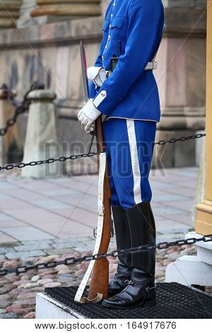 STOCKHOLM SWEDEN - AUGUST 20 2016: Swedish Royal Guards of honor in blue uniforms near the Royal Palace in Stockholm Sweden on August 20 2016.