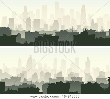 Set of horizontal wide banners big city with roofs of houses and skyscrapers.