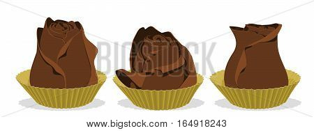 Three pieces od rose chocolate on transparent background