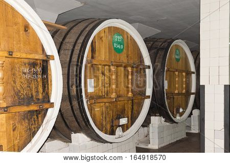 RUSSIA, CRIMEA, YALTA - may 29.2014: Huge barrels of wine in cellar storage Massandra winery