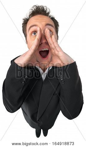 Young Man In Suit Yelling Top-down View - Isolated
