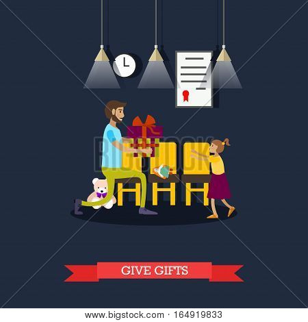 Vector illustration of volunteer man giving gift to little girl living in orphanage. Voluntary organizations services during holiday seasons concept design element in flat style.
