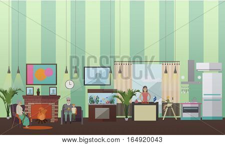 Vector illustration of grandmother, grandfather sitting in armchairs with their grandson at fireplace. Mother cooking, little son sitting in baby chair. Family concept design element in flat style.