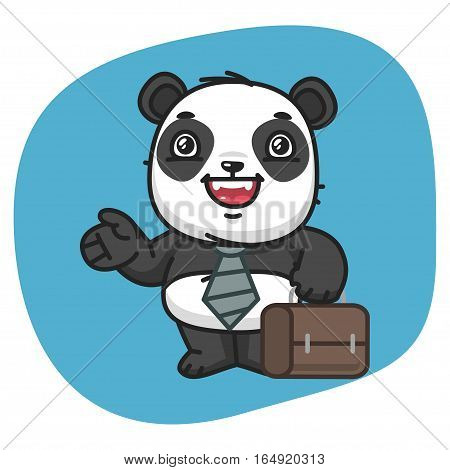 Vector Illustration, Panda Businessman Holding Suitcase and Points, Format EPS 8