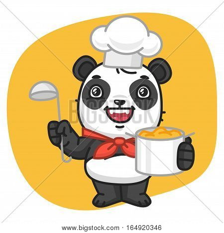 Vector Illustration, Panda Chef Holding Pan and Ladle, Format EPS 8