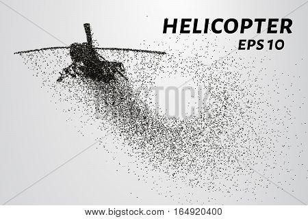 The helicopter of the particles. The silhouette of the helicopter consists of small circles and dots. Vector illustration.