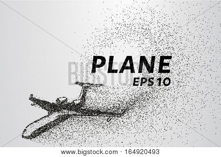 The plane of the particles. The plane climbs and the wind it rips small pieces. The plane from points. Vector illustration.