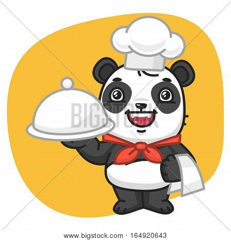 Vector Illustration, Panda Chef Holding Tray, Format EPS 8