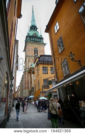 STOCKHOLM SWEDEN - AUGUST 19 2016: View on St. Gertrudes Church - Tyska Kyrkan (Old German Church) located in Gamla Stan old town in central Stockholm Sweden on August 19 2016.