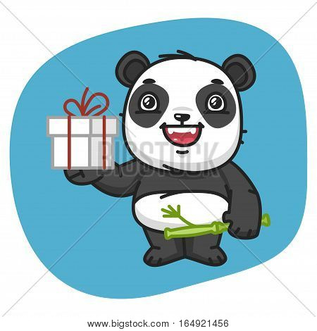 Vector Illustration, Panda Holds Gift, Format EPS 8