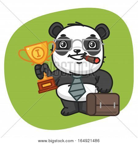 Vector Illustration, Panda Holds Suitcase and Cup, Format EPS 8