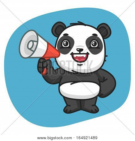 Vector Illustration, Panda Holds Megaphone, Format EPS 8