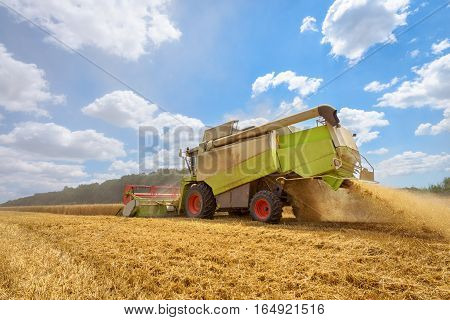 A combine harvester at work on a field in Bulgaria.