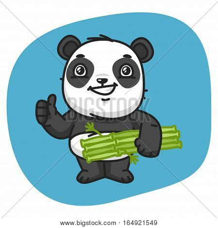 Vector Illustration, Panda Holds Bamboo and Showing Thumbs Up, Format EPS 8