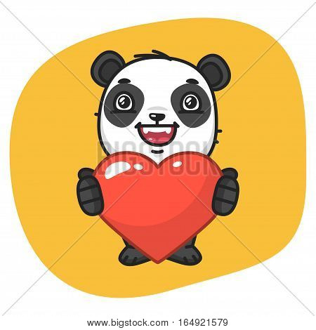 Vector Illustration, Panda Holds Heart Symbol, Format EPS 8