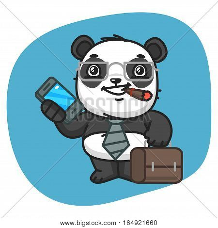 Vector Illustration, Panda Holds Suitcase and Phone, Format EPS 8