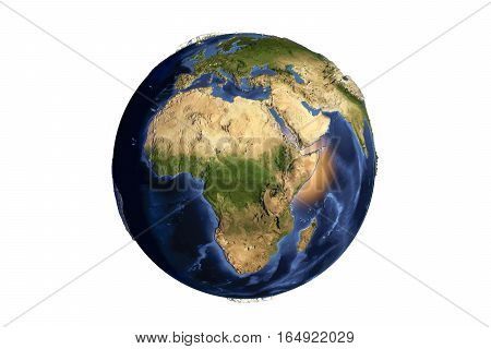 Planet Earth from space showing Africa with enhanced bump isolated on white background, 3D illustration, Elements of this image furnished by NASA