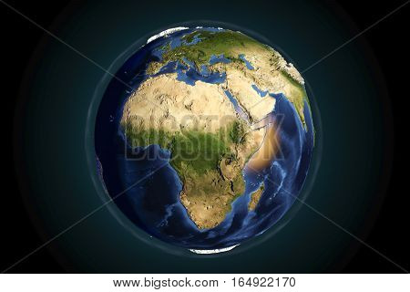 Planet Earth from space showing Africa with enhanced bump, 3D illustration, Elements of this image furnished by NASA