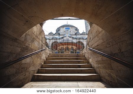 ISTANBUL TURKEY - APRIL 15 2015:View of Rustem Pasha Mosque in Istanbul from stairway. The mosque was built in 1561-63 by Princess Mihrimah in memory of her husband Rustem Pasha.