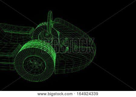 Racing Go Kart Hologram Wireframe. Nice 3D Rendering
