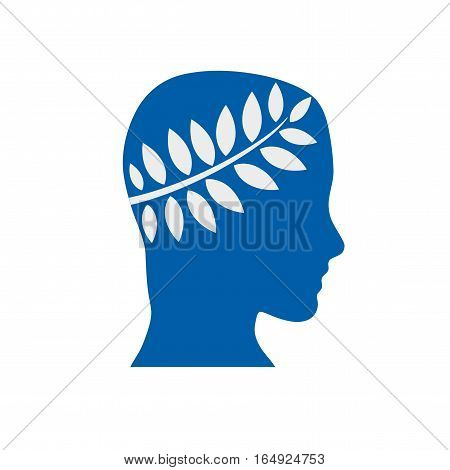 Vector sign graduate with laurel crown, isolated illustration on white