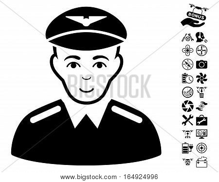 Aviator pictograph with bonus drone tools graphic icons. Vector illustration style is flat iconic black symbols on white background.