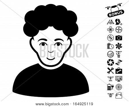 Brunet Man icon with bonus airdrone service pictograph collection. Vector illustration style is flat iconic black symbols on white background.