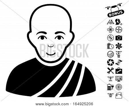 Buddhist Monk pictograph with bonus quadrocopter service symbols. Vector illustration style is flat iconic black symbols on white background.