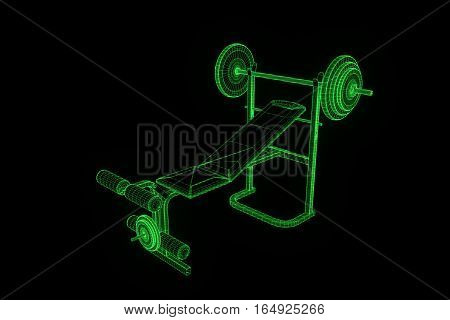 Gym Bench in Hologram Wireframe Style. Nice 3D Rendering