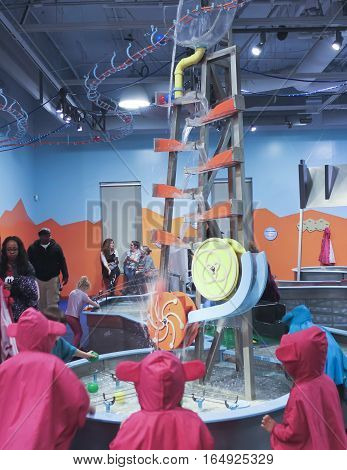 LAS VEGAS, NEVADA, DECEMBER 29. The Discovery Children's Museum on December 29, 2016, in Las Vegas, Nevada. A view of Water World at the Discovery Children's Museum in Las Vegas, Nevada.